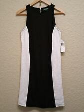 Lauren Ralph Lauren Petite Sleeveless Colorblock Dress 201194605004 Blk/Wht PS
