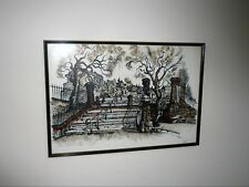 VINTAGE LARGE  1950-60s INK & WATERCOLOUR ARCHITECTURAL DRAWING SIGNED PARNELL