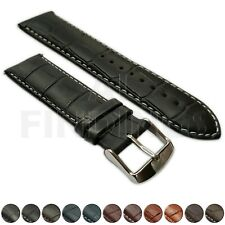 Extra Long Genuine Leather Mock Croc Watch Strap Band Mens Ladies SS Buckle XL