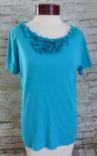 Laura Scott Blue Ruffled Floral Women's Short sleeved Top Size Medium