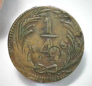 1836 Mo, Mexico 1/4 Real Mint Error Double Die Obverse Fine Details Damage (084)
