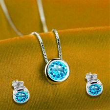 3.50 Ct Round Cut Topaz Pendant Necklace Set & Stud Earrings 14k White Gold Over