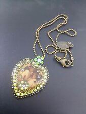Israel Michal Negrin Crystal Swarovsky Necklace Pendant Green Heart Vintage
