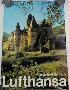 Lufthansa Airlines Vintage Original Vacationland Germany Travel Poster