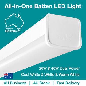LED Batten Ceiling Light 1200mm all-in-one 20W 40W Daylight Neutral Warm white