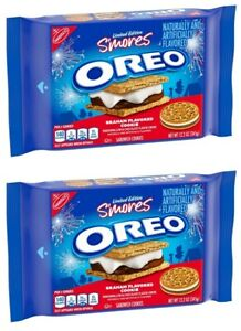 2 New Limited Edition S'mores Oreo Graham Flavored Sandwich Cookies 12.2 oz Each