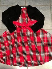 Girls Size 6 Red Black Plaid Holiday Christmas Dress Sweater Shrug Bonnie Jean