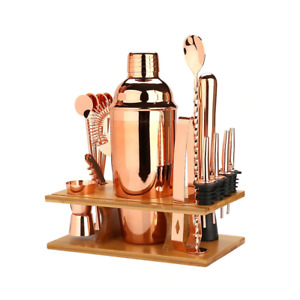 Rose Gold Cocktail Shaker Professional Stainless Steel Mixology Set Storage