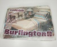 "Vtg Burlington Lustersoft King Fitted Sheet ""Pueblo"" Aztec Mayan Navajo Tribal"