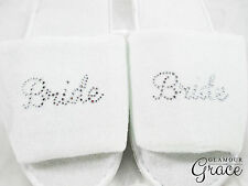 BRIDE Slippers Bridal Wedding Personalised Customised Silver Rhinestones Hens