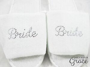 BRIDE Slippers Bridal Wedding Personalised Customised Silver Rhinestones Hens