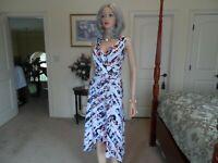 New White House Black Market White Multi Color Faux Wrap Dress Size 12