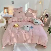 Soft Cozy Cotton Bedding Set Cartoon Koala Embroidery Duvet Cover Bed Sheet