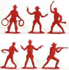 6 Dulcop Cowboys - 60mm unpainted plastic toy soldiers