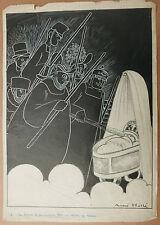 Dessin Original  Ancien Illustration Enfant Berceau ANDRÉ HELLÉ c.1920 Laclôtre