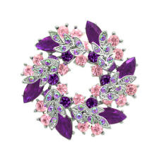 Christmas Collection Purple Pink Circle Wreath Rhinestones Brooches Silver BR442