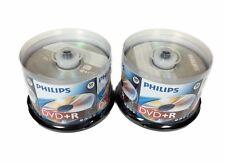 100 PHILIPS Blank DVD+R Plus R Logo Branded 16X 4.7GB Media Disc 50pk Cake Box