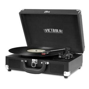 Victrola Record Player Bluetooth Turntable With Built-In Speakers 3-Speed Black