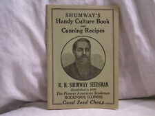 SHUMWAY'S HANDY CUTURE BOOK AND CANNIING RECIPES FROM ROCKFORD,IL