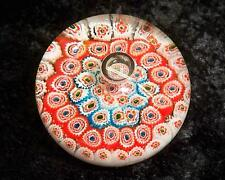 Fluted Millefiori Glass Paperweight with Controlled Bubble