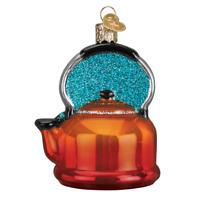 """Tea Kettle"" (32349)X Old World Christmas Glass Ornament w/OWC Box"