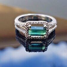 VS Green Blue Tourmaline Diamond Split Shank 14k white gold ring