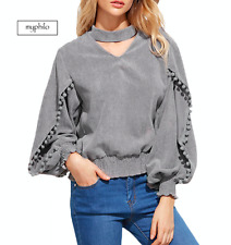 AU seller - Boho hippie grey choker V neck lantern sleeve poms corduroy top