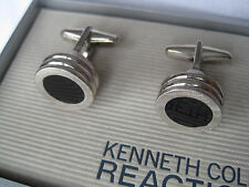 Kenneth Cole Reaction Cufflinks, Round, Silver-Tone and Onyx, $45 Retail