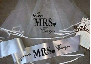 Personalised Future Mrs (Your Name) hen party veil & sash set - standard print