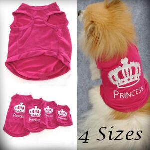 Pet Dog Cat Cute Princess T-shirt Clothes Vest Coat Puppy Costumes Outfit