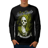 Wellcoda Santa Muerte Skull Mens Long Sleeve T-shirt, Death Graphic Design