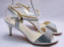 Zapatos de Novia Tiras Sandalias Noche Danza Brillo J 55