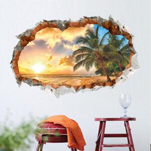Beach Under Sunset 3D Window View Removable Wall Art Sticker Decal Home Decor JN