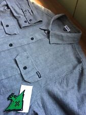 NEW LRG LIFTED RESEARCH GROUP MEDIUM M BUTTON DOWN FLANNEL SHIRT WOVEN GRAY