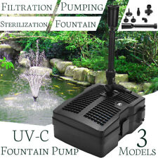 9W UV Steriliser Light UVC Fountain Pump Pond Filter Pump + 3x Fountain