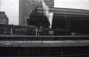 B/W 4.5x6.5 Negative Vintage Steam Engine Railway Train Manchester Victoria  n5