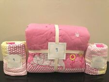 New Pottery Barn Kids Girl's Kitty Cat Full/Queen Quilt & Euro Shams, Pink/Gray