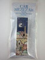 "Car Mezuzah 2.5"" Acrylic JERUSALEM with Travelers Prayer Scroll"