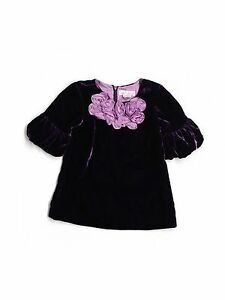 Girl Halabaloo Purple Velour Rosette Holiday Portrait Party Dress Size 18 Months
