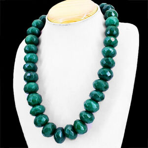 1460.00 Cts Earth Mined Emerald Round Shape Faceted Beads Necklace NK 5E34