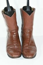 JUSTIN MENS 3802 10.5 D BROWN LEATHER ROUND TOE ROPERS WESTERN COWBOY BOOTS