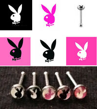 5pc Playboy Bunny Logo Nose Studs 20g 20 gauge Nostril Rings 316L Surgical Steel