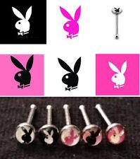 5pc Playboy Bunny Logo Nose Studs 20g 20 gauge Nostril Rings 316L Surgical Steel