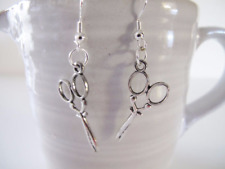 New silver earrings charm Scissors pewter charms Hairdresser gift Box included