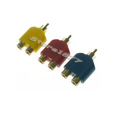 New 3pcs RCA AV Audio Y Splitter Plug Adapter 1 M to 2 F p07