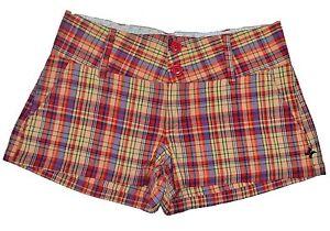 Hurley CUSTOM WALKSHORT Red Yellow Orange Purple Plaid Junior's Mini Shorts