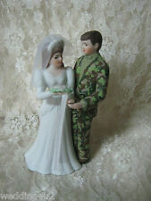 Wedding Reception Party Camo Military Hunter Hunting Bride w/ Veil Cake Topper
