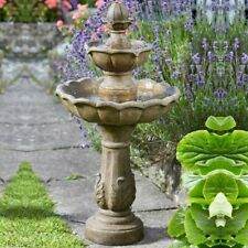 Kingsbury Stone Effect Two Tier Cascade Fountain Solar Garden Water Feature