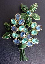 "VTG Large Floral Bouquet Open-Back Blue Rhinestones &Green Enamel Brooch, 2 3/4"""