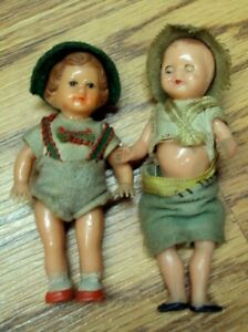 """Vtg Lot/2 Miniature Celluloid Dolls ~ (1) Made in Italy Sleepy Eyes Baby ~ 3.5"""""""